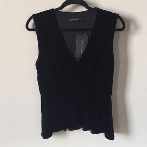 bf9a669d71c1cd Zara Tops - Zara Black Peplum Velvet Sleeveless Top V Neck